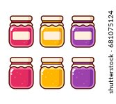 bright cartoon jam icon set.... | Shutterstock .eps vector #681075124