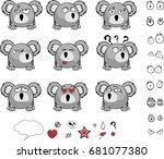 cute baby ball koala cartoon... | Shutterstock .eps vector #681077380