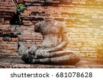 broken buddha statue with old... | Shutterstock . vector #681078628