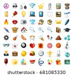 set of realistic cute icons on... | Shutterstock .eps vector #681085330