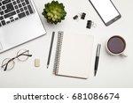 modern white office desk table. | Shutterstock . vector #681086674