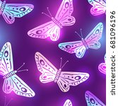 elegant dark violet seamless... | Shutterstock .eps vector #681096196