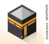 flat 3d isometric kaaba  mecca  ... | Shutterstock .eps vector #681099490