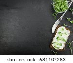 fresh cutted cress with creamy... | Shutterstock . vector #681102283