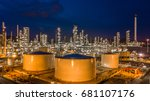 aerial view oil and gas tank... | Shutterstock . vector #681107176