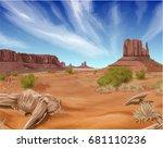 texas desert landscape... | Shutterstock .eps vector #681110236