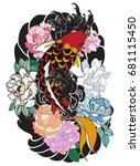 hand drawn koi fish with flower ... | Shutterstock .eps vector #681115450