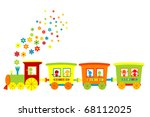 toy train with happy kids | Shutterstock .eps vector #68112025