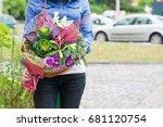 woman holding beautiful bouquet ... | Shutterstock . vector #681120754