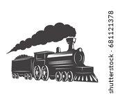 vintage train isolated on white ... | Shutterstock .eps vector #681121378