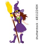 vector beautiful witch with... | Shutterstock .eps vector #681122404