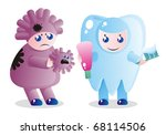 A small tooth-child protects against caries - stock vector