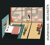 perspective interior design. 3d ... | Shutterstock .eps vector #681146374
