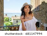 beautiful tourist in italy.... | Shutterstock . vector #681147994