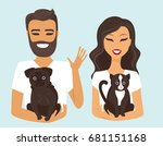 Stock vector young woman holding domestic cat and man holding pug 681151168