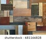 modern wall of wood scraps ... | Shutterstock . vector #681166828