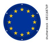 round metallic flag of european ... | Shutterstock .eps vector #681168769