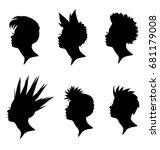 set of faces punk girl. head... | Shutterstock .eps vector #681179008