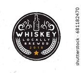round whiskey label with a... | Shutterstock .eps vector #681182470