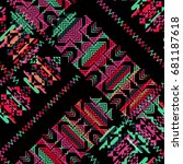 seamless pattern with tribal... | Shutterstock . vector #681187618