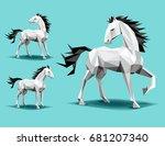 Three Horses  Low Polygon...