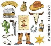 wild west  rodeo show  cowboy... | Shutterstock .eps vector #681207904