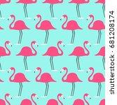 tropical birds flamingo on a... | Shutterstock .eps vector #681208174