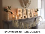 Stock photo decoration for a baby shower cute party 681208396