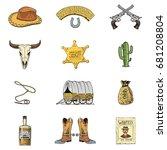 wild west  rodeo show  cowboy... | Shutterstock .eps vector #681208804