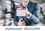 businessman holding a trade... | Shutterstock . vector #681211594
