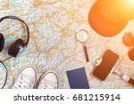 accessories for travel.... | Shutterstock . vector #681215914