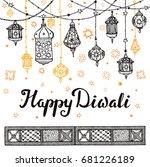 happy diwali festival... | Shutterstock . vector #681226189