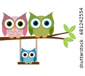 owls family sitting on a branch | Shutterstock .eps vector #681242554