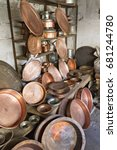 Small photo of ADIYAMAN, TURKEY - OCTOBER 31, 2013: Copper pots in the coppersmith bazaar, in Adiyaman, Turkey.