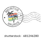 postal grunge stamp ''mauritius'... | Shutterstock .eps vector #681246280