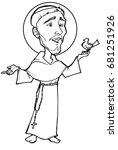 st. francis black and white | Shutterstock . vector #681251926