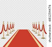 red carpet with red ropes on... | Shutterstock .eps vector #681254476