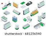vector isometric supermarket... | Shutterstock .eps vector #681256540