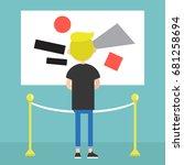visitor in a modern art gallery ... | Shutterstock .eps vector #681258694
