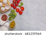 omelet with broccoli with... | Shutterstock . vector #681259564