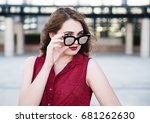 young woman with sunglasses... | Shutterstock . vector #681262630