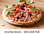 pizza with ham  black olives ... | Shutterstock . vector #681268768