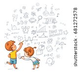 kids drawing. boy and girl draw ... | Shutterstock .eps vector #681272578