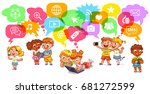 children communicate with each... | Shutterstock .eps vector #681272599