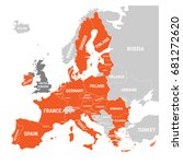 map of europe with orange... | Shutterstock .eps vector #681272620