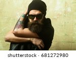 hipster in leather jacket and... | Shutterstock . vector #681272980