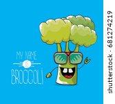 vector funny cartoon cute green ...   Shutterstock .eps vector #681274219