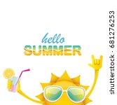hello summer rock n roll vector ... | Shutterstock .eps vector #681276253