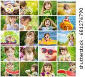 children's collage summer... | Shutterstock . vector #681276790