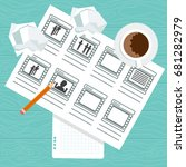 storyboarding process image.... | Shutterstock .eps vector #681282979